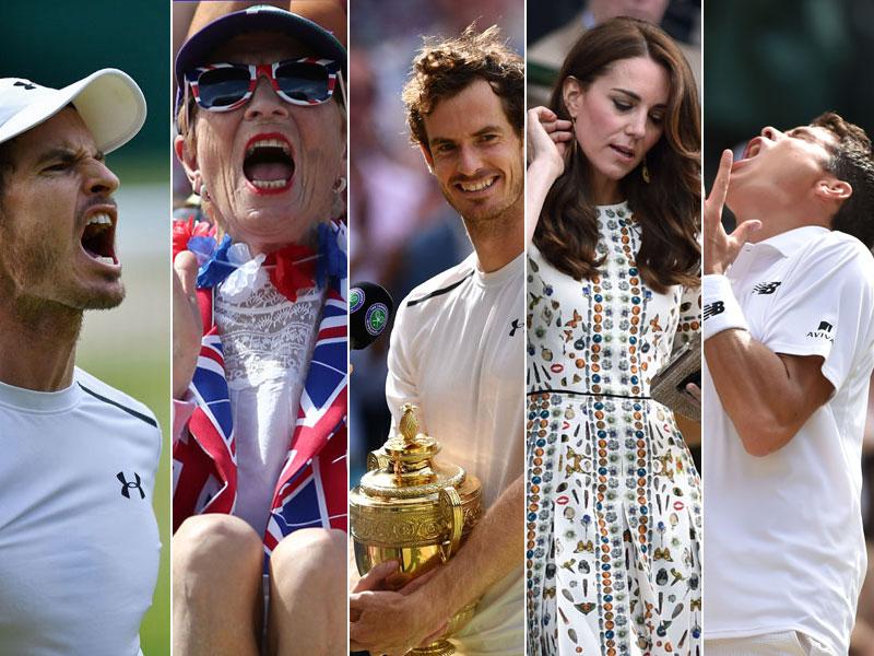 Andy Murray, ein britischer Fan, Prinzessin Kate und Milos Raonic (v.li.)