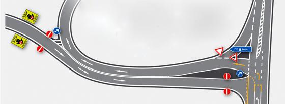 Grafik Autobahneinfahrt mit Geisterfahrerwarnun