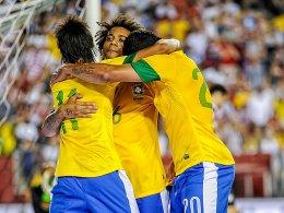 Neymar, Marcelo und Hulk (v.li.)