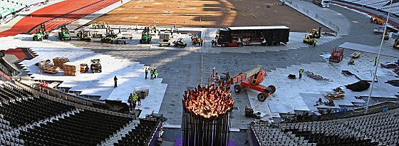 Umbaumaßnahmen im Olympiastadion: Die Flamme wurde versetzt.