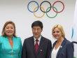 Die Repr�sentanten der drei Bewerberst�dte (von links nach rechts): Amanzholova Zauresh (Vizeb�rgermeisterin von Almaty), Yang Xiaochao (Chairman der Peking-Bewerbung) und Eli Grimsby (CEO der Oslo-Bewerbung).