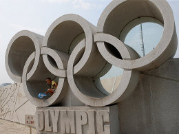 Ein Zeichen für Solidarität: die olympischen Ringe.