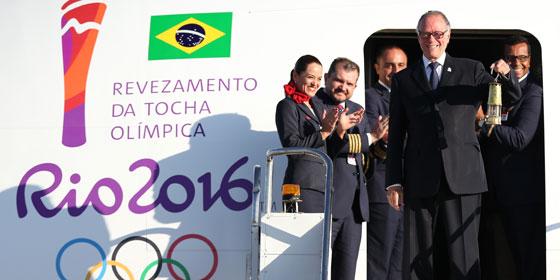 Das olympische Feuer ist in Brasilien angekommen
