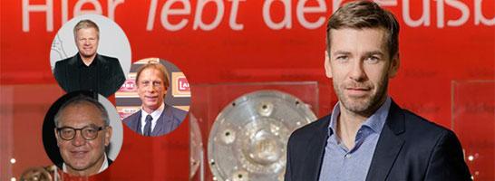 Premiereng�ste: Moderator Marco Hagemann begr��t Oliver Kahn, Felix Magath und Christoph Daum zur ersten kicker-Talkshow.