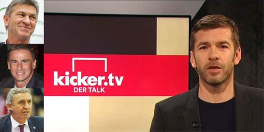 Moderator Marco Hagemann (r.) begr��t am Dienstag Klaus Augenthaler, Stefan Kuntz und Svetislav Pesic (v.o.).