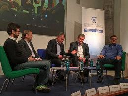 Diskussionsrunde: Gruszecki, Koch, Jakob, Sprink und Meyer.