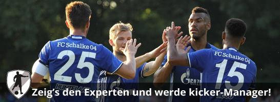 Johannes Geis (2.v.li.) geht unter anderem mit seinem Teamkollegen Eric-Maxim Choupo-Moting (2.v.re.) auf Punktejagd im Managerspiel.