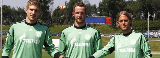 Aus drei mach eins: Unnerstall, Fährmann und Hildebrand (v. li.) wollen alle Schalkes Nummer Eins sein.