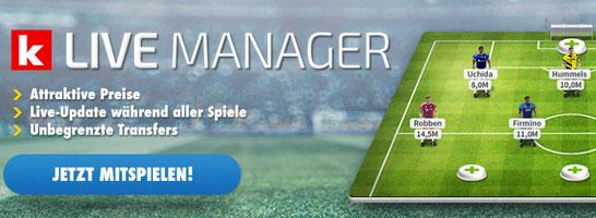 Werden Sie Live-Manager in der Bundesliga und gewinnen einen der tollen Preise.