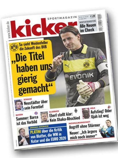 ... ist das Interview mit Dortmunds Roman Weidenfeller der Aufmacher, flankiert von Themen der Vereine Schalke 04, Borussia M�nchengladbach und 1. FC K�ln.