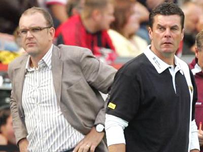 Getrennte Wege? Sportdirektor Schmadtke (li.) verhandelt mit 96 über Dieter Hecking.