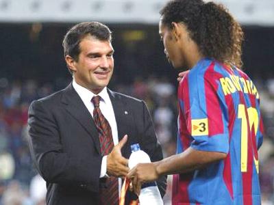Erfolgreiche Zusammenarbeit: Joan Laporta und Ronaldinho.