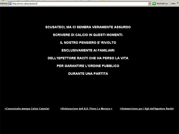 """""""Absurd, in diesen Stunden über Fußball zu schreieben"""": Die Homepage von Catania Calcio."""