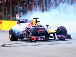 Donuts: Red-Bull-Pilot Sebastian Vettel feierte 2013 einen historischen Sieg in Brasilien.